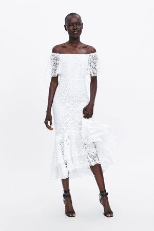 Zara Długa koronkowa sukienka