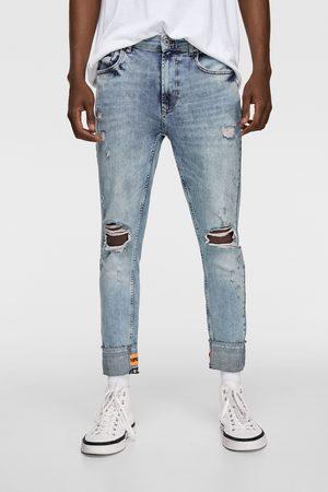 Zara Spodnie jeansowe rurki ze wstawkami