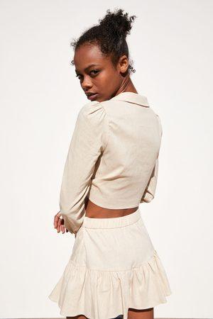 Zara Koszula o krótszym kroju z wiązaniem