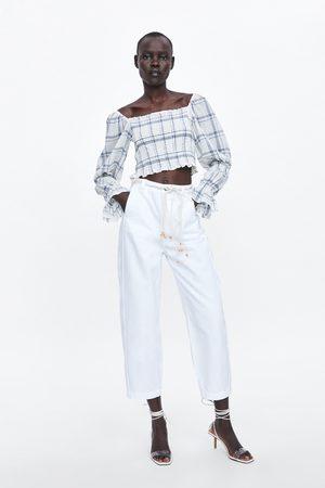 Zara Spodnie jeansowe typu slouchy z paskiem z kolekcji z1975