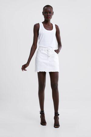 Zara Spódnica jeansowa mini z rozdarciami
