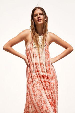 Zara Sukienka z łączonych tkanin z nadrukiem