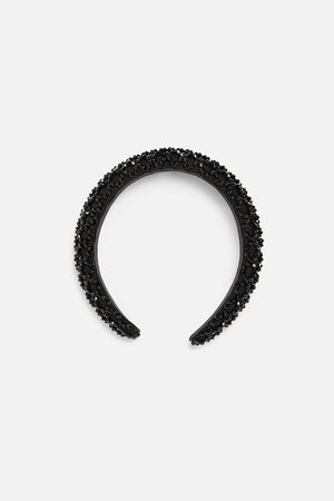 Zara Satynowa opaska na włosy z biżuteryjnym zdobieniem