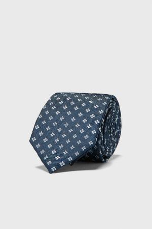 Zara Szeroki żakardowy krawat w geometryczny deseń