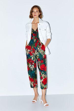 Zara Kombinezon z nadrukiem w stylu tropikalnym