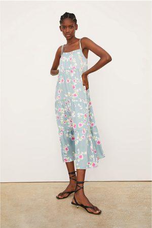 Zara Sukienka z tkaniny satynowanej w kwiaty