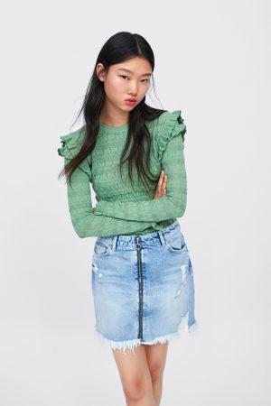 Zara Spódnica jeansowa z rozdarciami i zapięciem na suwak