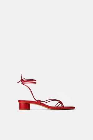 Zara Skórzane sandały na obcasie z cienkimi paskami