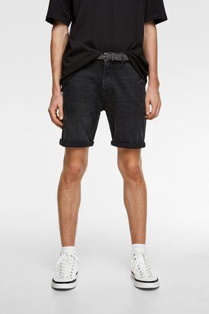 Zara Mężczyzna Szorty - Spodenki jeansowe z paskiem