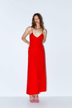 Zara Długa sukienka na ramiączkach