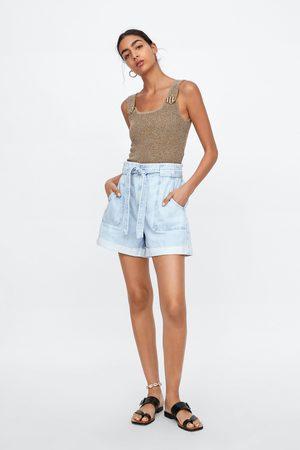 Zara Kobieta Bermudy - Spodenki jeansowe z paskiem
