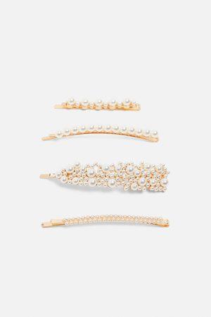 Zara Komplet spinek ze sztucznymi perłami