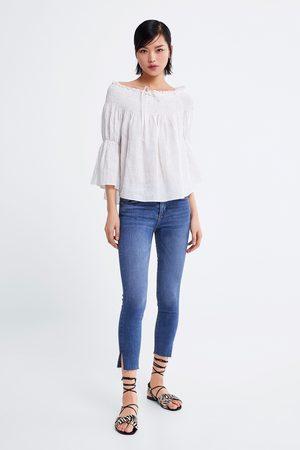 Zara Kobieta Rurki - Spodnie jeansowe rurki ze średnim stanem