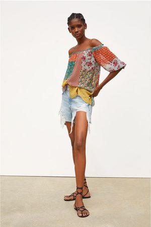 Zara Kobieta Koszule - Koszula z patchworkowym nadrukiem