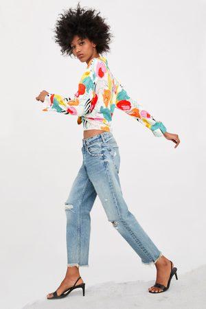 Zara Spodnie jeansowe ze średnim stanem o prostym kroju