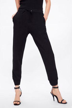 Zara Spodnie joggery z łączonych tkanin