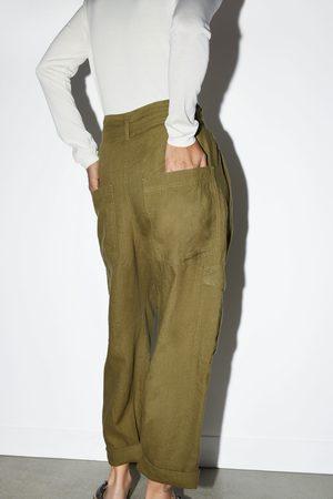Zara Lniane spodnie typu cargo