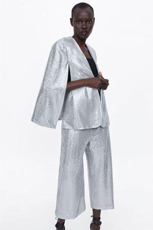Zara Spodnie typu culotte z cekinami