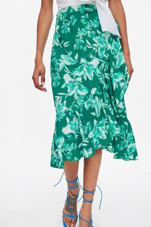Zara Spódnica z tkaniny rustykalnej w kwiaty