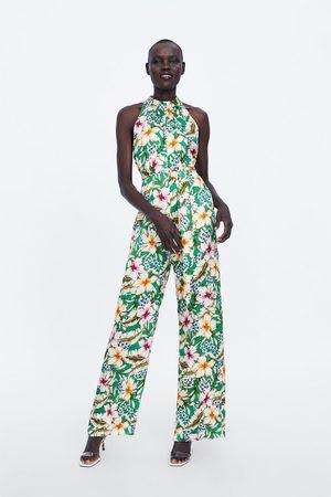 Zara Kombinezon w kwiaty z dekoltem halter