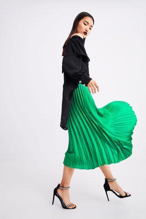 Zara Kobieta Spódnice plisowane - Plisowana spódnica średniej długości