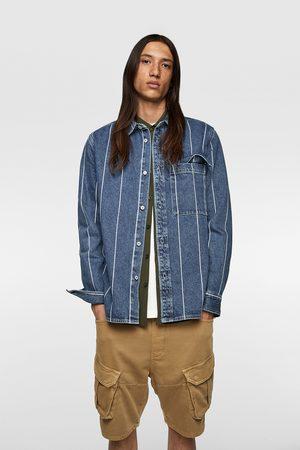 Zara Jeansowa kurtka koszulowa w paski