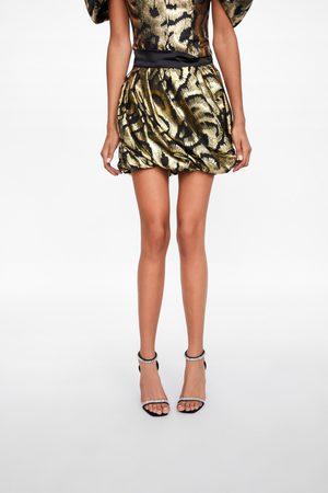 Zara Spódnica mini z metalizowaną nicią