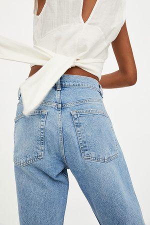 Zara Spodnie jeansowe z rozdarciami mid rise slouchy