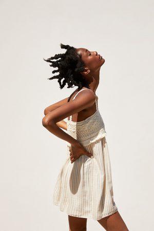 Zara Sukienka z łączonych tkanin w stylu rustykalnym