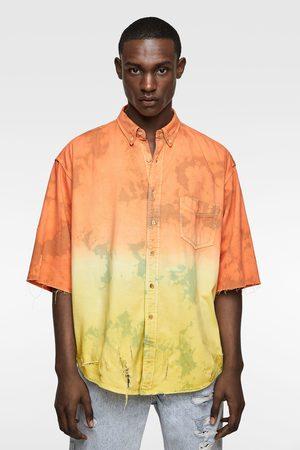 Zara Koszula farbowana metodą tie dye z rozdarciami