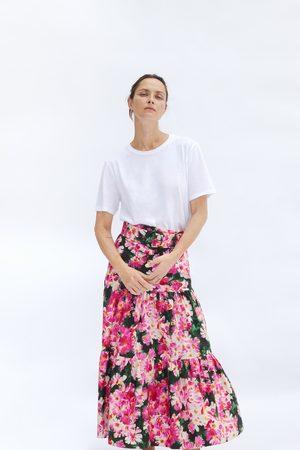 Zara Kobieta Spódnice z nadrukiem - Spódnica z nadrukiem i paskiem