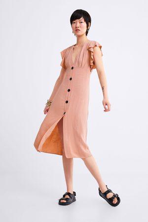 Zara Sukienka w stylu rustykalnym z falbanką