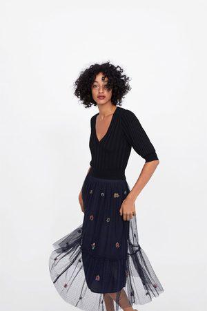 Zara Kobieta Spódnice - Spódnica tiulowa z haftem