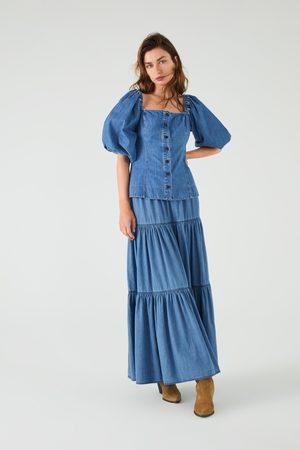 Zara Spódnica jeansowa z falbankami