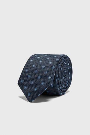 Zara Wąski żakardowy krawat w kwiaty
