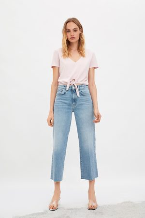 Zara Kobieta Z krótkim rękawem - Koszulka z efektem sprania i wiązaniem