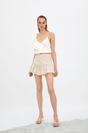 Zara Krótkie spódnicospodnie z falbanką