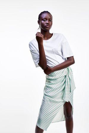Zara Spódnica z tkaniny satynowanej w kropki
