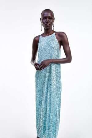 Zara Sukienka z dekoltem halter i cekinami