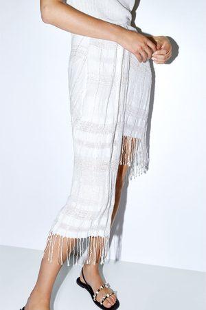 Zara Spódnica mini z frędzlami