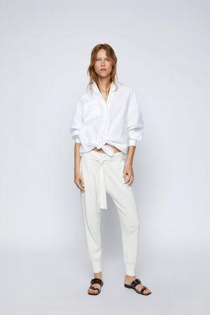 Zara Kobieta Spodnie dresowe - Spodnie joggery z dzianiny