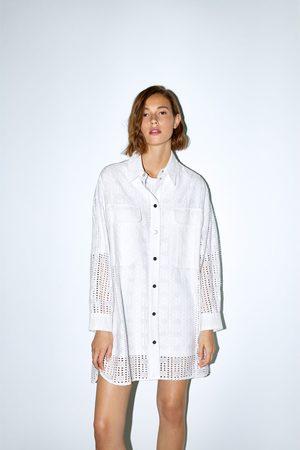 Zara Ażurowa koszula z haftem