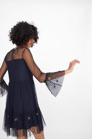 Zara Tiulowa sukienka z haftem