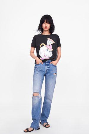 """Zara Kobieta Z krótkim rękawem - Koszulka z motywem z filmu """"piękna i bestia"""" © disneya"""