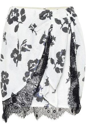 Self-Portrait Floral sequined miniskirt