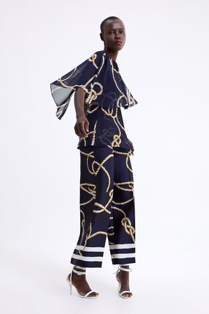 Zara Spodnie typu culotte z nadrukiem w węzły