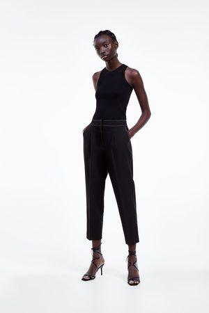 Zara Spodnie z kontrastowymi przeszyciami