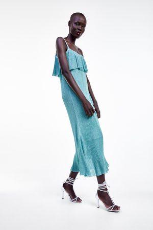 Zara Sukienka z falbankami i metalizowaną nicią