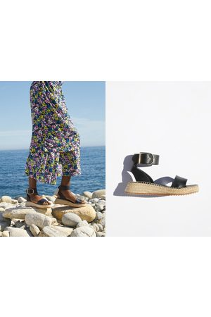 Zara Skórzane sandały na niewielkim koturnie z paskiem wokół kostki