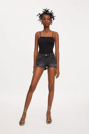 Zara Spodenki jeansowe typu hot pant z niskim stanem